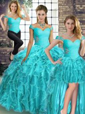 Gorgeous Sleeveless Brush Train Beading and Ruffles Lace Up Ball Gown Prom Dress