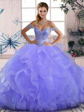 Lavender Sleeveless Beading and Ruffles Asymmetrical 15th Birthday Dress