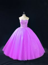 Purple Lace Up Sweetheart Beading Quinceanera Dresses Tulle Sleeveless