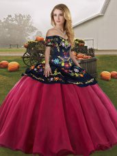 Fabulous Red And Black Off The Shoulder Lace Up Embroidery Ball Gown Prom Dress Sleeveless