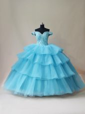 Custom Designed Aqua Blue Sleeveless Beading and Ruffled Layers Floor Length Quinceanera Gown