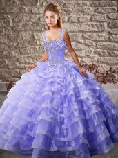 Straps Sleeveless 15th Birthday Dress Court Train Beading and Ruffled Layers Lavender Organza