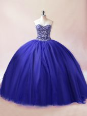 Flare Royal Blue Lace Up Sweetheart Beading Vestidos de Quinceanera Tulle Sleeveless