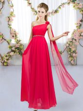 Red Sleeveless Floor Length Beading and Hand Made Flower Lace Up Dama Dress for Quinceanera