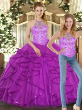 Sweet Halter Top Sleeveless Quinceanera Dress Floor Length Beading and Ruffles Purple Tulle