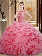 Attractive Beading and Ruffles and Pick Ups Sweet 16 Dress Pink Lace Up Sleeveless Floor Length