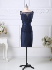 Satin Scoop Sleeveless Zipper Beading and Lace Prom Dresses in Navy Blue