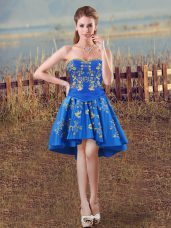Modest Royal Blue A-line Embroidery Dress for Prom Lace Up Taffeta Sleeveless High Low