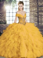 Fabulous Gold Sweet 16 Quinceanera Dress Military Ball and Sweet 16 and Quinceanera with Beading and Ruffles Off The Shoulder Sleeveless Lace Up