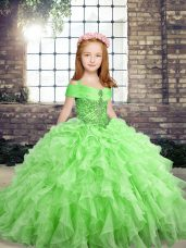Floor Length Lace Up Little Girl Pageant Dress for Party and Wedding Party with Beading and Ruffles