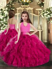 Halter Top Sleeveless Tulle Party Dress Wholesale Ruffles Lace Up