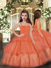 Custom Made Orange Red Ball Gowns Straps Sleeveless Organza Floor Length Lace Up Ruffled Layers Pageant Gowns