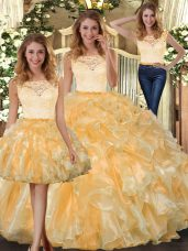 Stunning Lace and Ruffles Quinceanera Dresses Gold Clasp Handle Sleeveless Floor Length