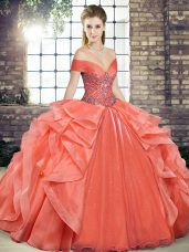 Orange Red Off The Shoulder Neckline Beading and Ruffles Quinceanera Gown Sleeveless Lace Up
