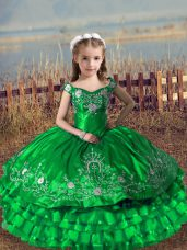 Dramatic Sleeveless Floor Length Embroidery and Ruffled Layers Lace Up Girls Pageant Dresses with Green
