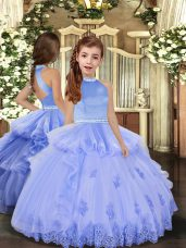 Best Sleeveless Backless Floor Length Beading and Appliques Little Girl Pageant Gowns