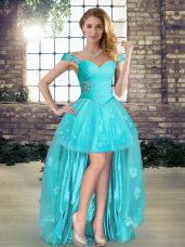 High Low Aqua Blue Party Dresses Tulle Sleeveless Beading and Appliques