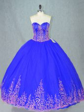 Blue Sweet 16 Quinceanera Dress Sweet 16 and Quinceanera with Beading Sweetheart Sleeveless Lace Up