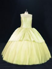 Sexy Ball Gowns Sweet 16 Quinceanera Dress Yellow Green Scoop Tulle Sleeveless Lace Up
