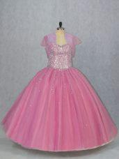 Deluxe Pink Sleeveless Beading Floor Length Quinceanera Dresses