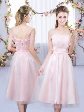 Colorful Sweetheart Short Sleeves Dama Dress Tea Length Lace and Belt Baby Pink Tulle
