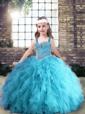 Aqua Blue Ball Gowns Tulle Straps Sleeveless Beading and Ruffles Floor Length Lace Up Kids Formal Wear