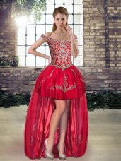 Traditional Tulle Sleeveless High Low Runway Inspired Dress and Beading and Appliques