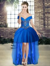 Tulle Sleeveless High Low and Beading