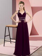 Chiffon Straps Sleeveless Backless Beading Prom Party Dress in Dark Purple