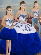 Sexy Sleeveless Lace Up Floor Length Embroidery and Ruffles and Bowknot Quinceanera Dress