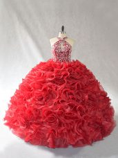 Wonderful Red Sleeveless Organza Brush Train Lace Up 15 Quinceanera Dress for Sweet 16 and Quinceanera