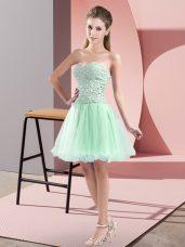 Apple Green Sweetheart Zipper Beading Evening Dress Sleeveless