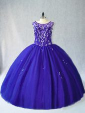 Sweet Floor Length Royal Blue Quinceanera Dress Scoop Sleeveless Lace Up
