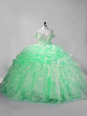 Nice Beading and Pick Ups Ball Gown Prom Dress Apple Green Lace Up Sleeveless