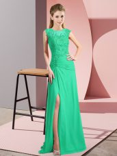 Chiffon Scoop Sleeveless Zipper Beading Prom Party Dress in Turquoise