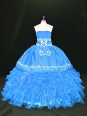 High End Blue Lace Up Strapless Embroidery and Ruffles Sweet 16 Dress Organza Sleeveless