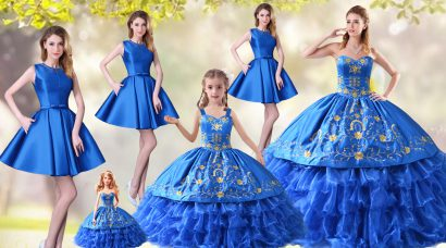Classical Organza Sweetheart Sleeveless Lace Up Embroidery and Ruffled Layers 15 Quinceanera Dress in Blue