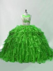 Custom Design Zipper Quinceanera Dress Green for Sweet 16 and Quinceanera with Beading and Ruffles Brush Train