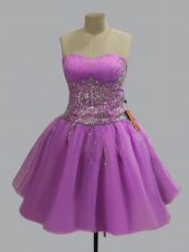 Eye-catching Lilac Sweetheart Neckline Beading Junior Homecoming Dress Sleeveless Lace Up