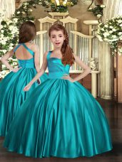 Straps Sleeveless Winning Pageant Gowns Floor Length Ruching Teal Satin