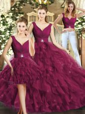 Burgundy V-neck Neckline Beading and Ruffles Quince Ball Gowns Sleeveless Backless