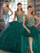 Chic Peacock Green Tulle Lace Up 15 Quinceanera Dress Sleeveless Floor Length Beading and Ruffles
