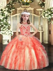 Elegant Orange Red Lace Up Little Girls Pageant Dress Appliques and Ruffles Sleeveless Floor Length