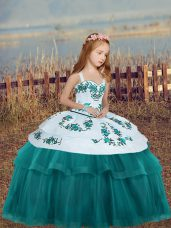 Straps Sleeveless Little Girls Pageant Gowns Floor Length Embroidery Teal Tulle