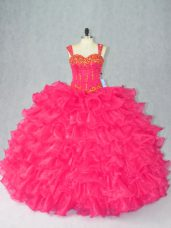 Vintage Sleeveless Floor Length Beading and Ruffles Lace Up Quince Ball Gowns with Red