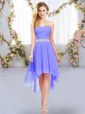 Modest High Low Lavender Bridesmaid Gown Sweetheart Sleeveless Lace Up