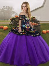 Purple Sleeveless Tulle Lace Up Quinceanera Gown for Military Ball and Sweet 16 and Quinceanera
