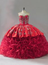 Red Ball Gowns Sweetheart Sleeveless Fabric With Rolling Flowers Brush Train Lace Up Embroidery Quince Ball Gowns