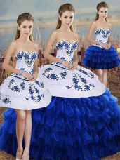 Sweetheart Sleeveless Ball Gown Prom Dress Floor Length Embroidery and Ruffled Layers and Bowknot Royal Blue Organza