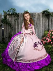 White Lace Up Pageant Dresses Embroidery and Ruffles Sleeveless Sweep Train